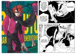 Cover dan panel seri manga Boruto Chapter 62. (Aset Gambar: tangkap layar via MangaPlus, edit by Ilham Maulana)