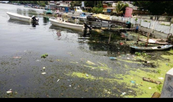 Sampah di danau. Sumber gambar : sumut.inews.id