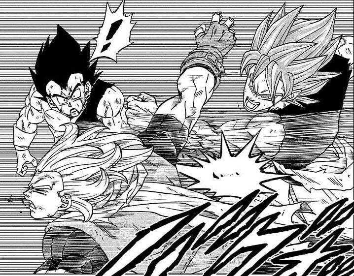 Pertarungan antara Goku, Vegeta melawan Granolah. Sumber: capture (mangaplus.shueisha.co.jp)