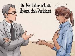 Ilustrasi dua orang sebagai pengguna bahasa sedang bertindak tutur. Sumber| wikihow