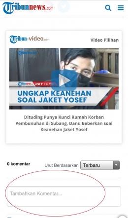 contoh fitur interaksi pada portal berita online. Sumber: Tribun.news