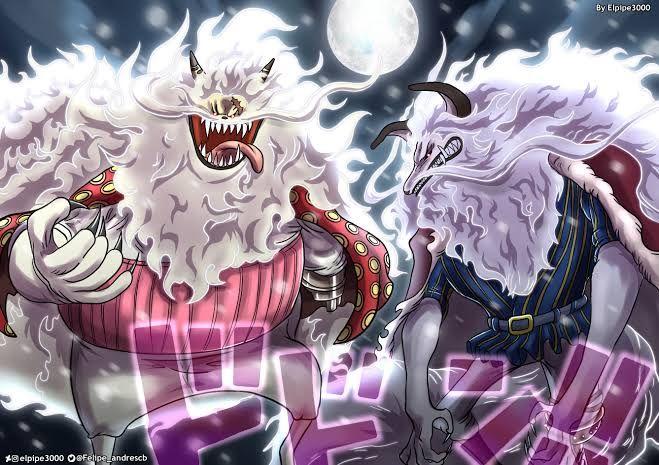 Nekomamushi dan Inuarashi mode Sulong, kalahkan Jack dan Perospero di One Piece 1026. (Sumber: deviantart.com)