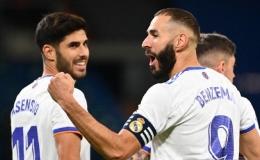 Kapten Real Madrid, Karim Benzema mencetak dua gol dalam kemenangan 6-1 atas Real Mallorca, Kamis dini hari tadi. (Gabriel Bouys/AFP/Antara)