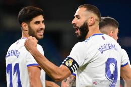 Karim Benzema menyumbangkan dua gol dalam kemenangan telak Real Madrid atas Real Mallorca.Foto:Gabriel Bouys/AFP via antaranews.com