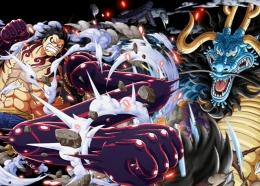 Illustrasi Luffy melawan Kaido. (Aset Gambar: DevianArt, edit by Ilham Maulana)