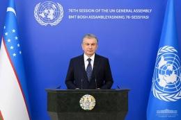 Presiden Shavkat Mirziyoyev Menyampaikan Pidatonya (Rekaman/Virtual) pada Sidang ke-76 Majelis Umum PBB