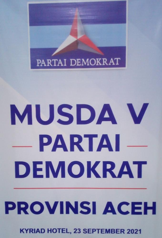 Banner MUSDA V Partai Demokrat Aceh (Doc Rachmad Yuliadi Nasir/Istimewa)