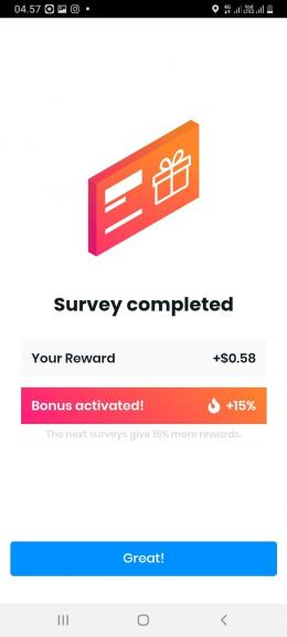 Halaman Reward Poll pay. Sumber: Screenshot halaman reward Poll pay (Dok Pribadi)