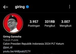 Profil instagram Giring Ganesha. Via tangkap layar (dokumen pribadi)