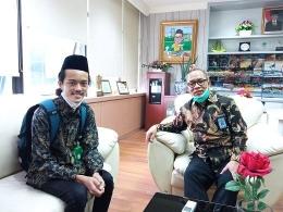 Maharsyalfath Izlubaid Qutub Maulasufa, peserta didik MAN 1 Jombang bertemu dengan Direktur KSKK Kemenag RI, Dr. H. Ahmad Umar, MA pada 7 April 2021