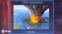 Gambaran ledakan dahsyat Danau Toba 75 ribu tahun lalu. Gambar dari sprezi.com