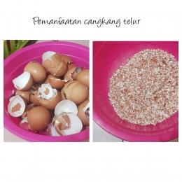 Pemanfaatan limbah cangkang telur (Kiri : cangkang telur utuh, Kanan: cangkang telur setelah dihancurkan   Foto: dokpri MomAbel)