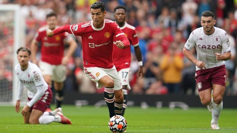Cristiano Ronaldo beraksi melawan Aston Villa di Old Trafford yang berakhir dengan kekalahan 0-1 Manchester United (Foto Skysports)