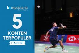 Anthony Sinisuka Ginting latihan perdana di arena pertandingan. (Diolah kompasiana dari sumber: Dok. Badminton Indonesia via kompas.com)