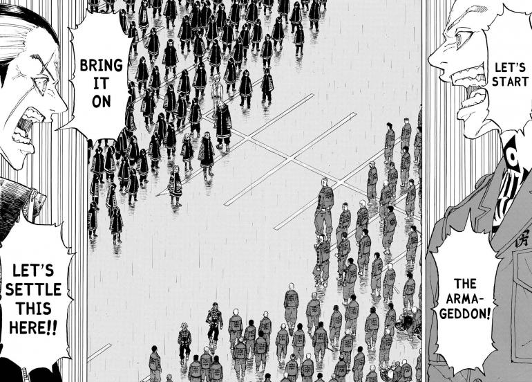 Salah satu adegan dalam Tokyo Revengers chapter 224. Via catmanga.org