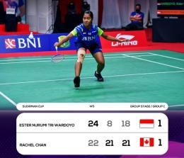 Ester Nurumi gagal memetik kemenangan dalam debutnya di level senior: badmintonindonesia.org