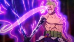 Zoro mencoba menjinakan pedang Enma di seri Anime One Piece. (Sumber: Dok. Funimation)