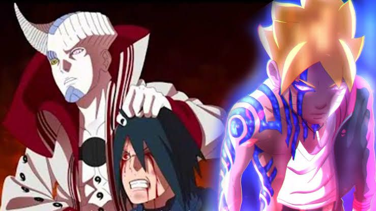 Isshiki tewas, namun mata Rinnegan Sasuke ditusuk Momoshiki, Boruto episode 218. (Sumber: blocktoro.wordpress.com)