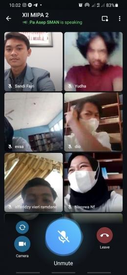 Screenshot pembelajaran daring melalui telegram (dokpri)