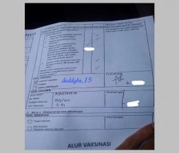 Formulir yang harus diisi jujur ini diserahkan setelah observasi untuk mendapatkan kartu vaksinasi Covid-19. Sumber: Dokumentasi penulis