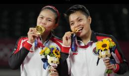Greysia/Apri, juara ganda putri Olimpiade Tokyo 2020: AP/Dita Alangkara