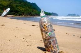 Ilustrasi sampah plastik dan puntung rokok yang dikumpulkan di pantai. (sumber: Dok. Shutterstock/Will Day via kompas.com)