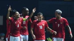Para pemain Timnas Indonesia merayakan gol. sumber gambar : Tribunnews.com