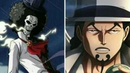Prediksi One Piece Chapter 1029 akan menampilkan pertarungan Brook vs Rob Lucci. (Aset Gambar: Twitter/@majkanart, edit by Ilham Maulana)