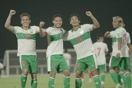 Skuad timnas Indonesia pada laga uji coba menjelang lanjutan Kualifikasi Piala Dunia 2022 Zona Asia di Uni Emirat Arab (UEA).(Dok. PSSI via kompas.com)