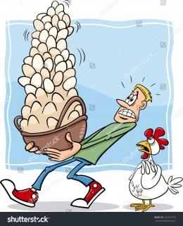 Ilustrasi telur dalm 1 keranjang|Sumber : shutterstock.com