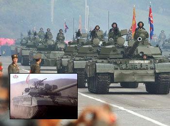 """Tank Korut """"Tiger Storm 1"""" (didepan) dan """"Tiger Storm 2"""" (dibelakang)"""