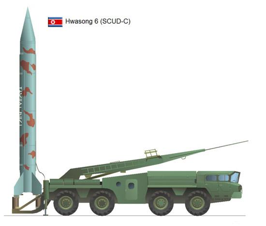 """""""Scud-6"""" Korut """"Hwasong-6"""", Rudal jarak dekat."""