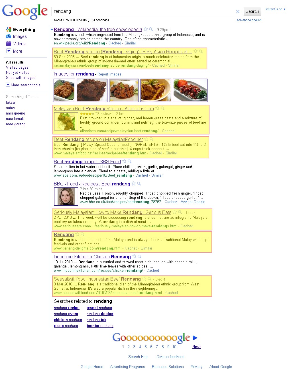 Google search result on rendang