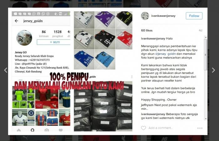 akun online shop @ivankawanjersey yang dirugikan karena fotonya dicuri oleh akun online shop palsu @jersey_goidn. sumber: instagram.com