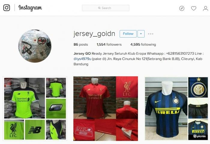 akun online shop palsu @jersey_goidn yang menggunakan alamat toko milik orang lain. sumber: instagram.com