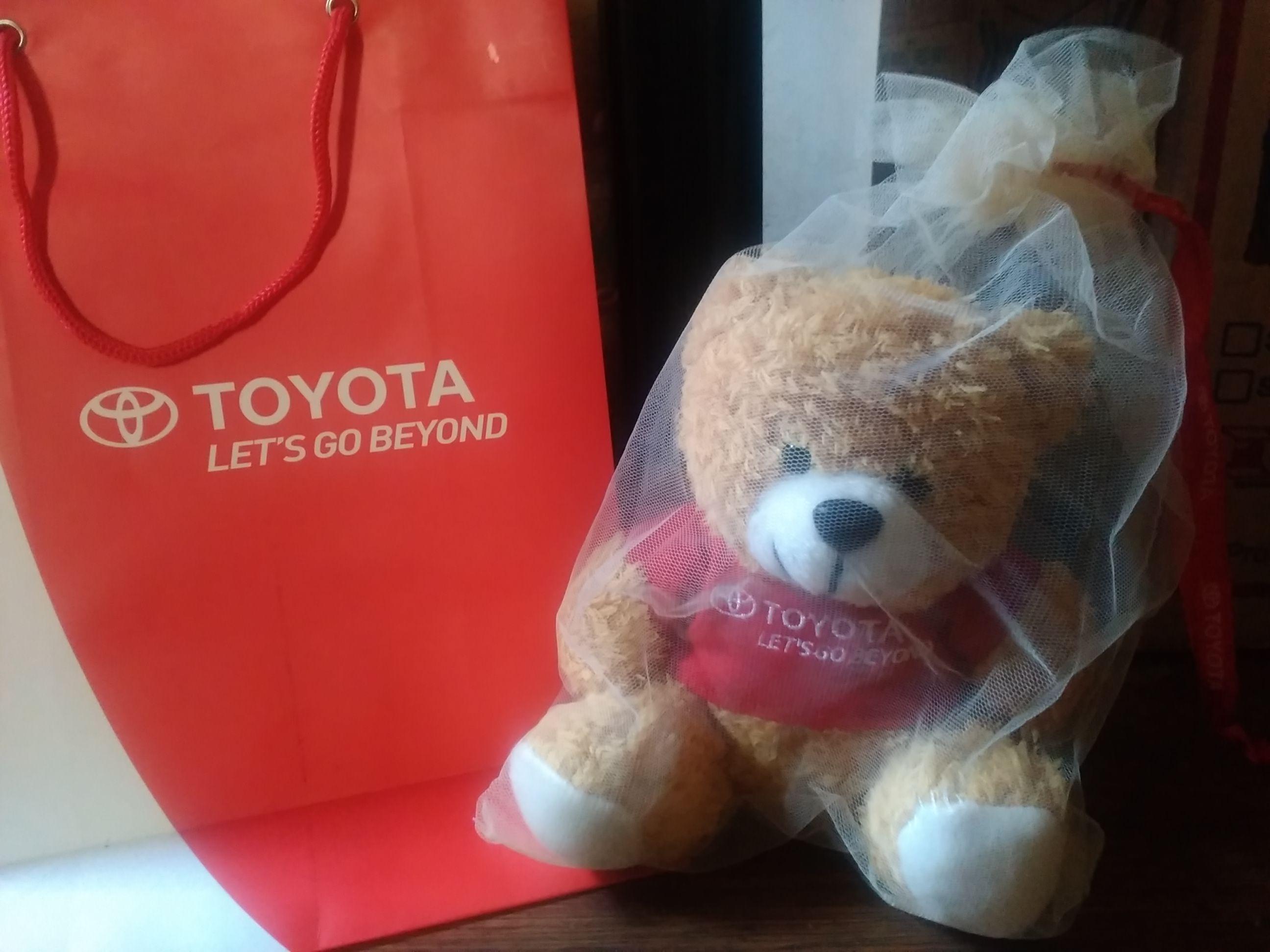 Foto souvenir berupa boneka beruang bertuliskan logo TOYOTA yang konon stok terbatas (dokpri)