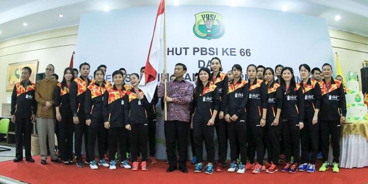 Pelepasan kontingen Indonesia ke Piala Sudirman bertepatan dengan HUT PBSI ke-66, 5 Mei lalu/badmintonindonesia.org