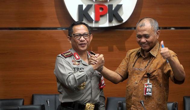 Kapolri Jenderal Tito Karnavian dan Ketua KPK Agus Rahardjo, bersatu melawan 'premanisme DPR' (Kompas.com)