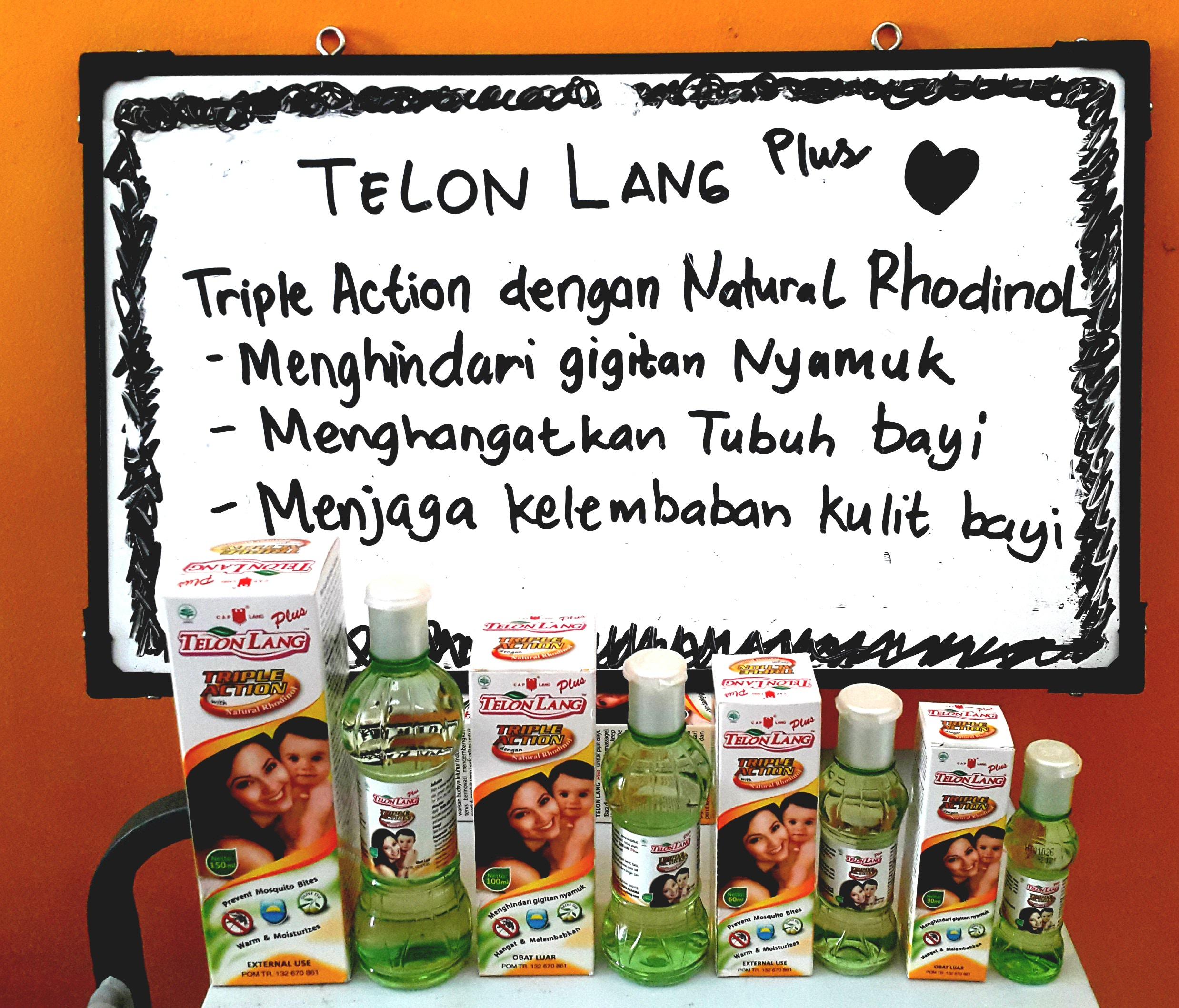 Telon Lang Plus tersedia dalam ukuran 30ml, 60ml, 100ml, 150ml