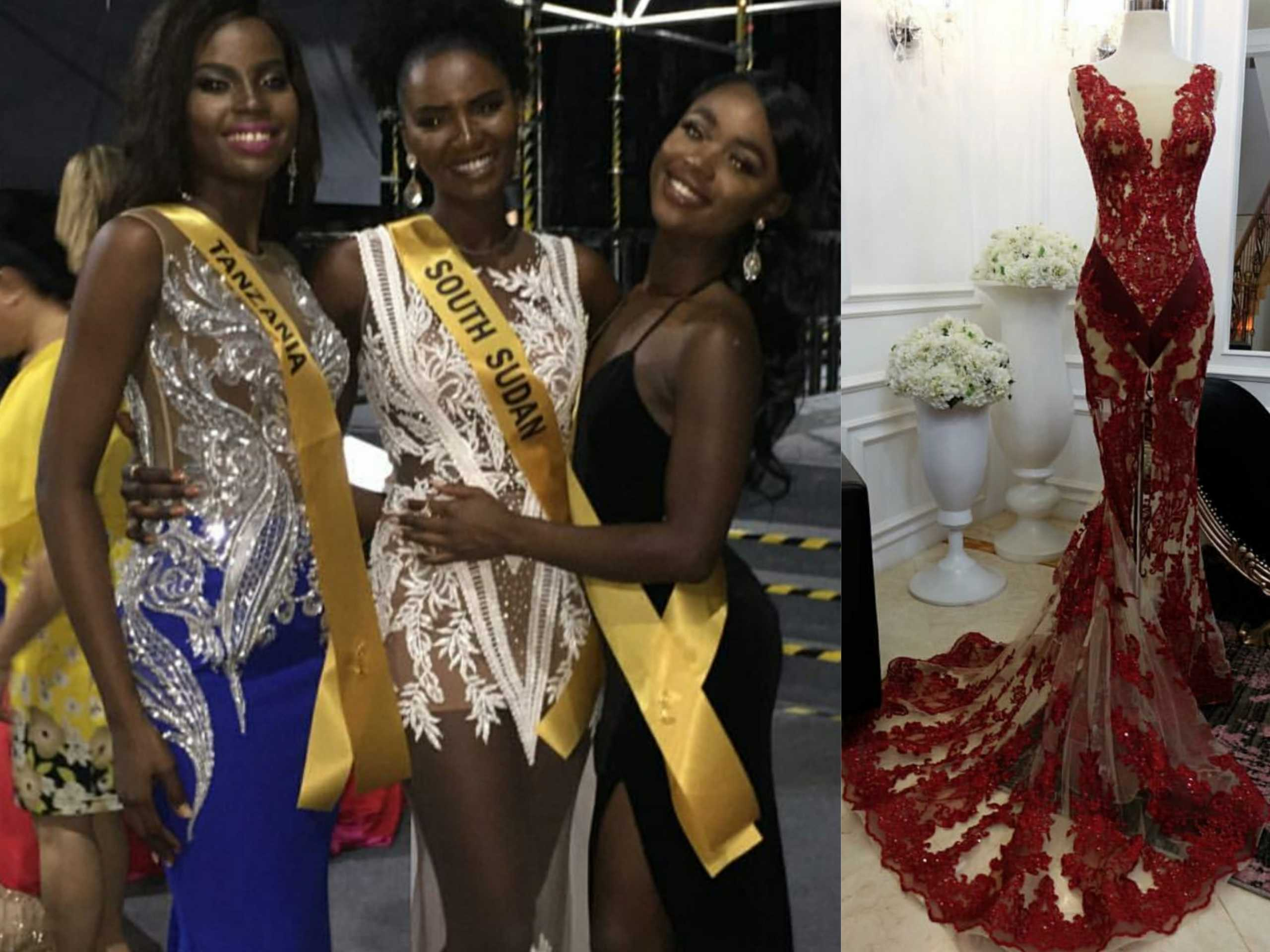 Miss Grand Tanzania mengenakan gaun perak-biru dari Anaz (kiri). Anaz menyiapkan gaun merah untuk Miss Grand Belgium (kanan). (Sumber: Instagram/anazofficial)