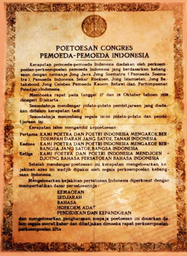 Naskah asli Sumpah Pemuda (sumber:informazone.com)
