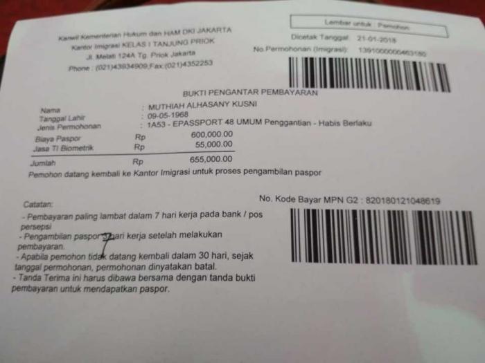 resi pembayaran e-passport (dokpri)