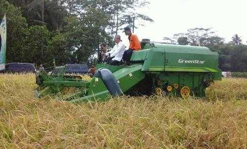 Kepala Balitbangtan, Muhammad Syakir saat panen padi gogo menggunakan mesin panen di Desa Banjareja, Kecamatan Puring, Kebumen pada Senin (12/2/2018). Foto Setiyo