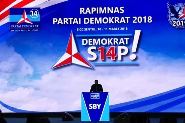 Ketua Umum Partai Demokrat Susilo Bambang Yudhoyono dalam acara Rapimnas Partai Demokrat di Sentul International Convention Center (SICC), Sabtu (10/3/2018).
