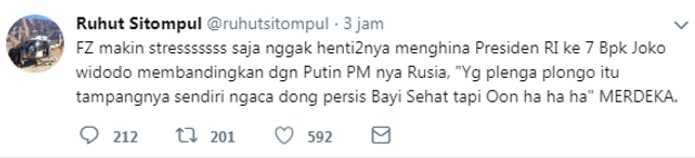 dari akun twitter-nya Ruhut Sitompul