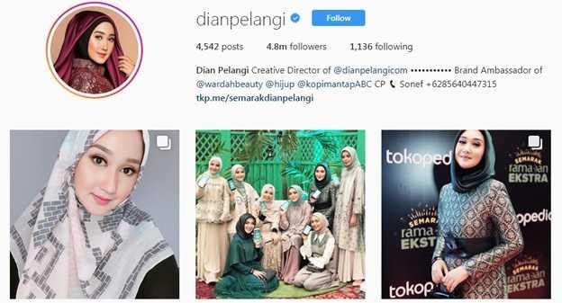 Salah satu Fashion Blogger populer Indonesia (Sumber: Instagram @dianpelangi/screenshoot)