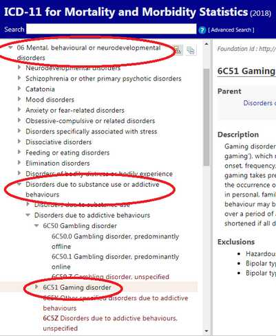 Gaming disorder, diolah dari tangkap layar. Sumber: icd.who.int.