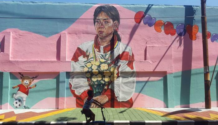 Mural Susi Susanti, duta obor Asian Games 2018 (dok. pri).