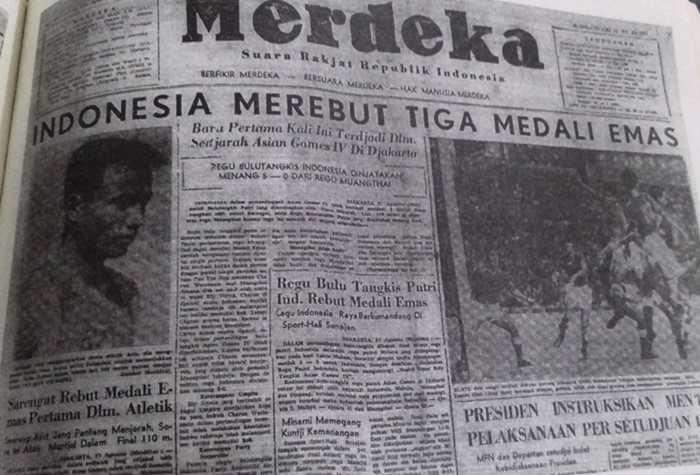 Berita kejayaan Sarengat meraih emas/ foto dokpri repro Harian Merdeka tahun 1962