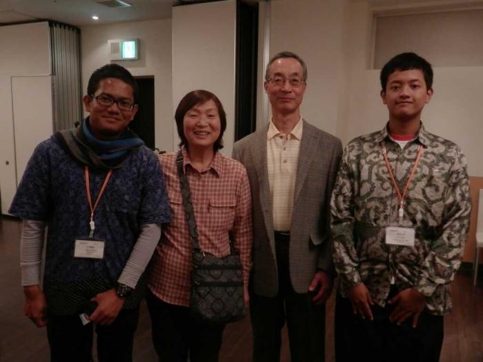 Saya dan Ibrahim berfoto bersama Masakazu san dan Sadako san saat Farewell Party sebelum kami kembali ke Indonesia. Sumber Foto: Dokumentasi Pribadi